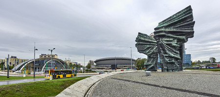 KATOWICE, POLAND - SEPTEMBER 16, 2017: Silesian Insurgents Monument on 16 September 2017 in Katowice, Poland. Silesian Insurgents Monument is located in the center of the great square Editorial
