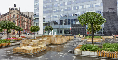 KATOWICE, POLAND - SEPTEMBER 16, 2017: New City Hall in Katowice on 16 September 2017 in Katowice, Poland. New renovated City Hall is located in the city center