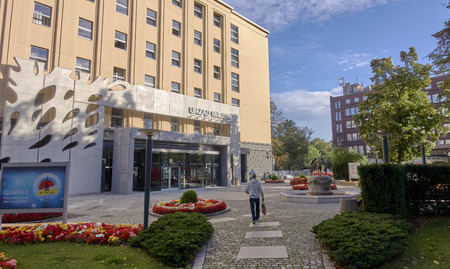 GLIWICE, POLAND - SEPTEMBER 14, 2017: Fountain in front of the City Hall building on September 14, 2017 in Gliwice, Poland. At the city office, the residents can handle many things.