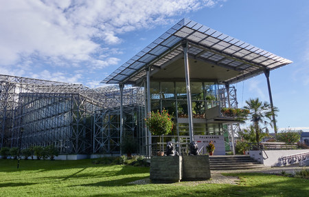 GLIWICE, POLAND - SEPTEMBER 14, 2017: Palm House in Chopin Park on 14 September 2017 in Gliwice, Poland. The Palm House building is located in a park near the train station in the very center of the city Editorial