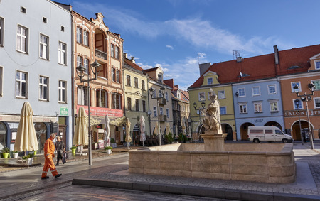 GLIWICE, POLAND - SEPTEMBER 14, 2017: Fountain in front of the building Town hall on 14 September 2017 in Gliwice, Poland. The town hall building dates back to the 15th century Editorial