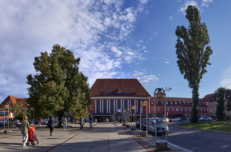 GLIWICE, POLAND - SEPTEMBER 14, 2017: Railway Station on 14 September 2017 in Gliwice, Poland.. The train station is in the city center