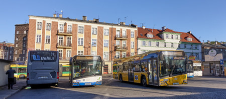 GLIWICE, POLAND - SEPTEMBER 13, 2017: Bus terminal on Piast Square on 13 September 2017 in Gliwice, Poland. The bus terminal is located in the city center near the train station Editorial