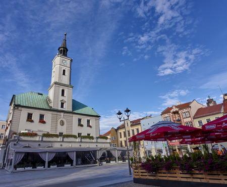 GLIWICE, POLAND - SEPTEMBER 14, 2017: Town hall on 14 September 2017 in Gliwice, Poland. The town hall building dates back to the 15th century and its height is 41.5 meters. Editorial