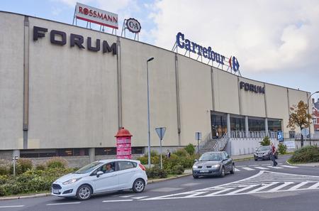 GLIWICE, POLAND - SEPTEMBER 29, 2017: Forum shopping center on 29 September 2017 in Gliwice, Poland. It is one of the largest shopping centers in the city center