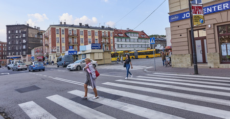 GLIWICE, POLAND - SEPTEMBER 29, 2017: Bus terminal on Piast Square on 29 September 2017 in Gliwice, Poland. The bus terminal is located in the city center near the train station Editorial