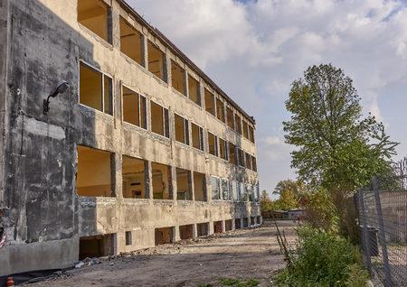Thorough reconstruction of a brick building - demolition of construction