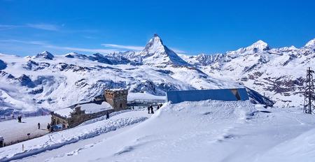 Zermatt (Switzerland) is a very popular ski resort in Europe lying under the Matterhorn peak.