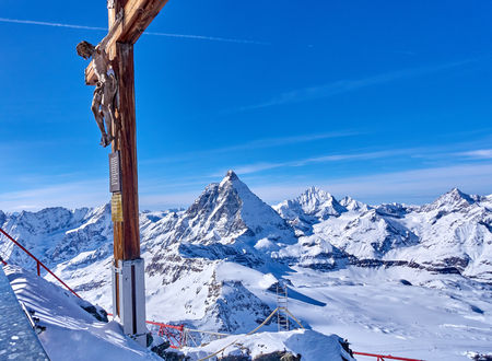 Zermatt (Switzerland) is a very popular ski resort in Europe lying under the Matterhorn peak.
