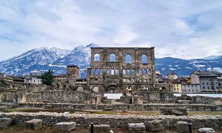 Old Roman Amphitheatre in center Aosta (Italy)