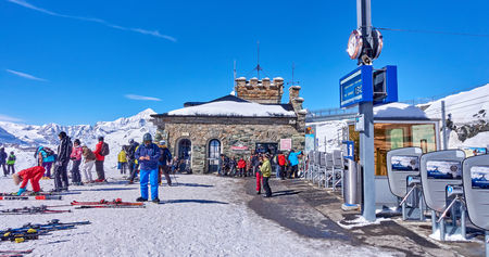 ZERMATT, SWITZERLAND - MARCH 8, 2018: View from Gornergrat on the Matterhorn on 8 March 2018 in Zermatt, Switzerland. Matterhorn is considered by many to be the most beautiful mountain in the world Editorial