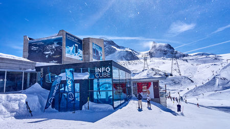 ZERMATT, SWITZERLAND - MARCH 8, 2018: Info Cube under Mount Matterhorn on 8 March 2018 in Zermatt, Switzerland. Zermatt at the foot of the Matterhorn is a very popular ski resort in Europe