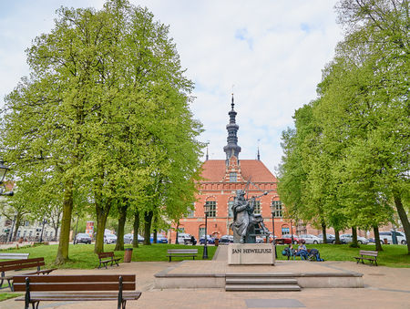 GDANSK, POLAND - APRIL 29, 2018: Monument astronom Jan Hevelius on 29 April 2018 in Gdansk, Poland. Jan Heweliusz is astronomer, mathematician and constructor of scientific instruments and  a well-known brewer