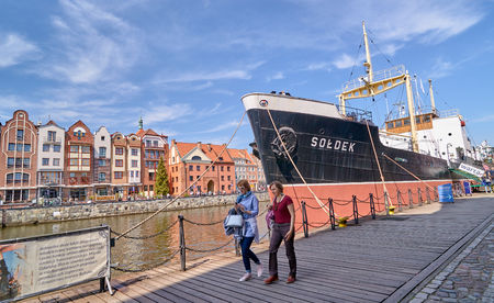 GDANSK, POLAND - APRIL 29, 2018: SS Soldek ship on Motlawa river on 29 April 2018 in Gdansk, Poland. Bulk carrier with steam propulsion-the first vessel built entirely in Poland after the II World War