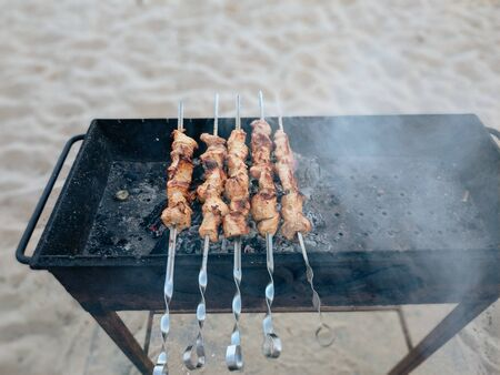 Closeup of some grilled meat skewers in a barbecue standing on the sand by the sea