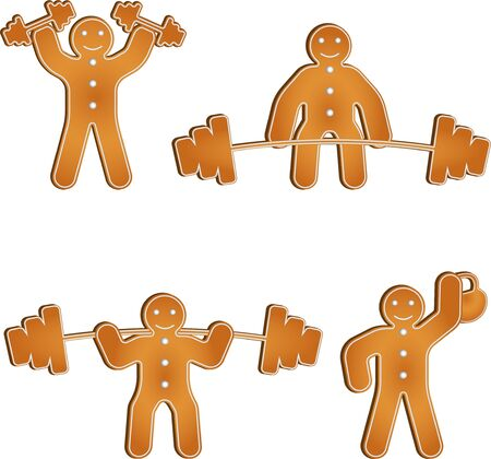 Gingerbread man works out at the gym