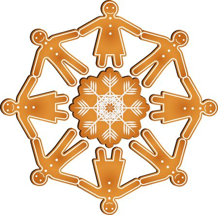 Isolated vector gingerbread men and women hold hands in circle standing on the gingerbread snowflake Illustration