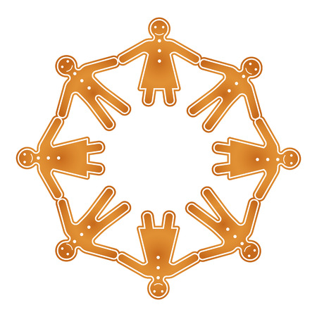 Isolated vector gingerbread men and women hold hands in circle