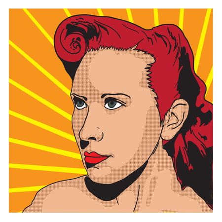 Vector portrait of young pin-up female in a graphic novel style