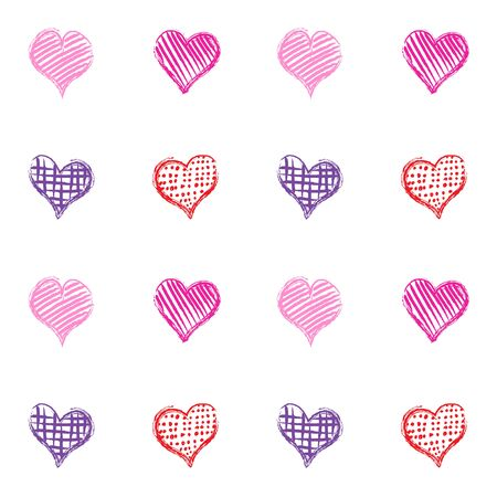 Romantic with the pattern of the four hand-drawn multi-color hearts with different tracery.  イラスト・ベクター素材