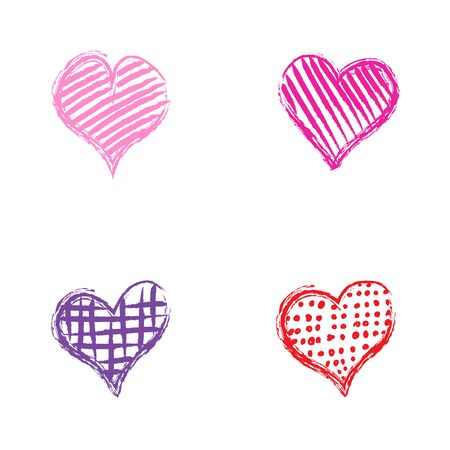 Four isolated romantic vector hand-drawn multicolor hearts with different tracery