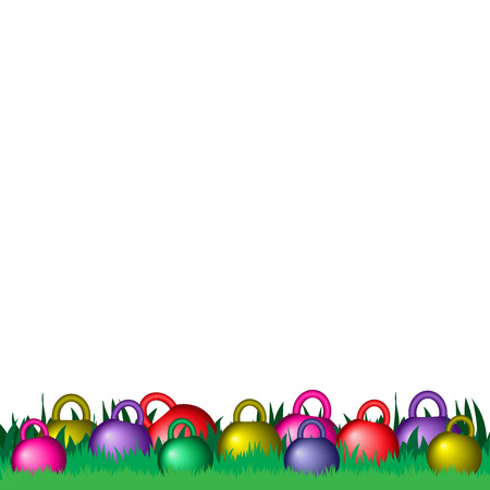 Dyed easter kettle bells on the green grass. Stock Illustratie