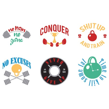 Set of six inspirational fitness quotes with colorful images Illustration