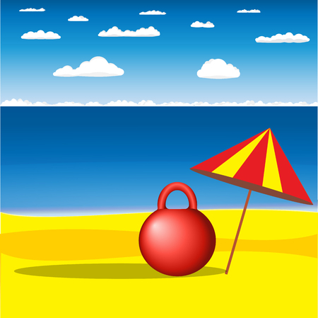 Vector postcard with the red kettlebell under the beach umbrella at the sandy sea shore with the sea and clouds on the background Illustration