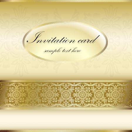 dinner date: Invito carta oro con motivo ornamentale Vettoriali