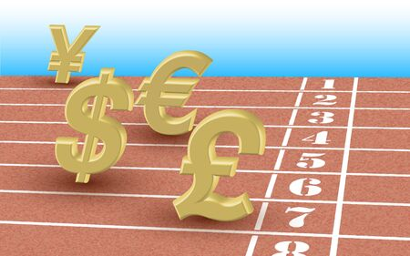 gbp: Running currency rates - editable illustration of dollar, euro, pound and yen