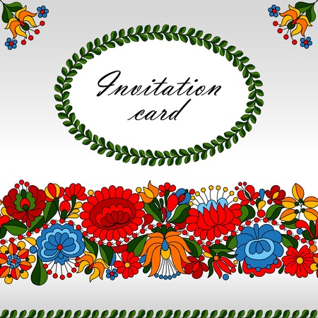 Hungarian traditional folk ornament invitation card template Vector