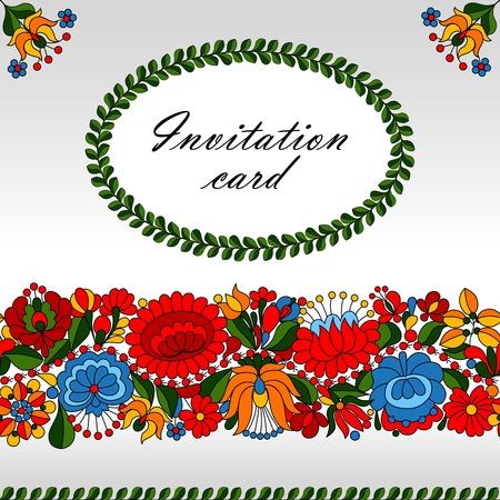 folk tales: Hungarian traditional folk ornament invitation card template