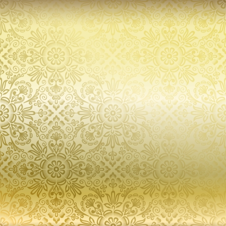 gold leafs: Seamless golden damask wallpaper