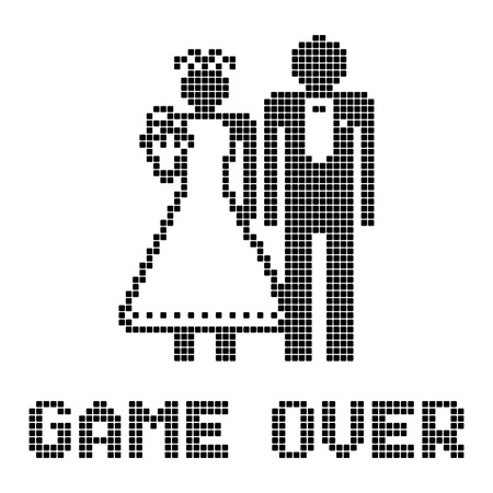 pixels: Funny wedding symbol - Game Over