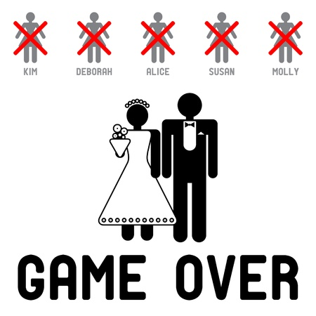 Funny wedding symbol - Game Over Vector