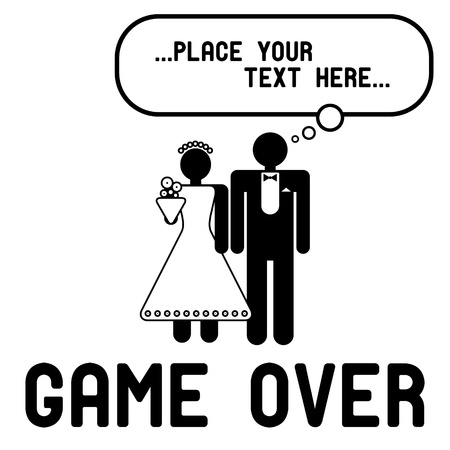 Funny wedding symbols with speech bubble - Game Over Ilustração