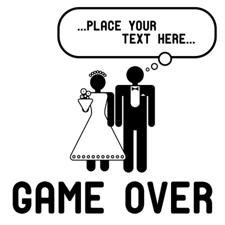 Lustige Hochzeit Symbole mit Sprechblase - Game Over