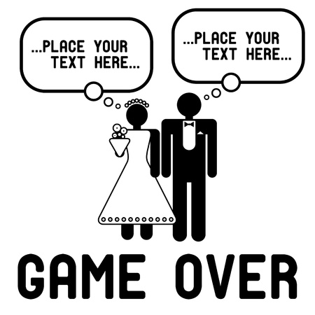 Funny wedding symbols with speech bubbles - Game Over