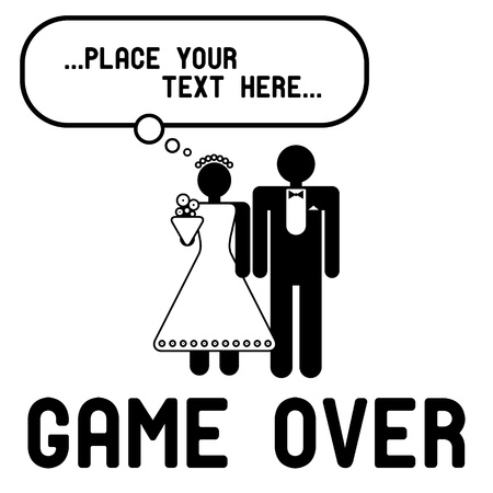 game over: Funny wedding symbols with speech bubble - Game Over Illustration