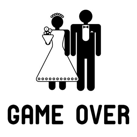 games hand: Funny wedding symbol - Game Over
