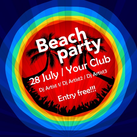 Colorful beach party flyer template Vector