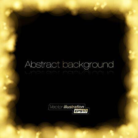 Golden light frame on dark background Vector
