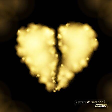 heartbreak: Flaming Golden broken heart