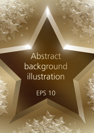 Abstract shining bronze stars gold vector background Vector
