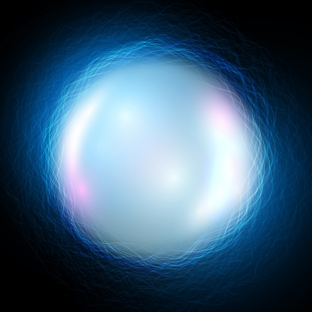 Vector magic ball on blue waves background