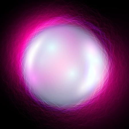 Vector magic ball on purple waves background