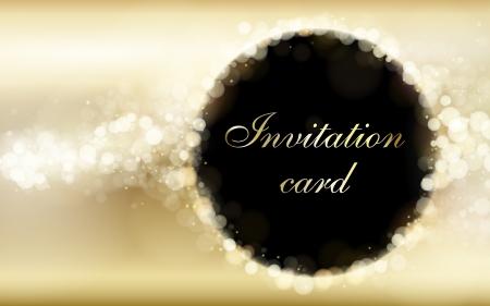 Gold invitation card vector template Vettoriali