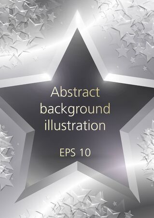 Abstract shining silver stars gold vector background Vector