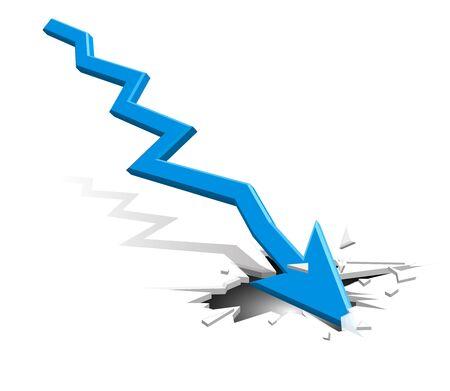 Groundbreaking arrow goes down - blue Vettoriali
