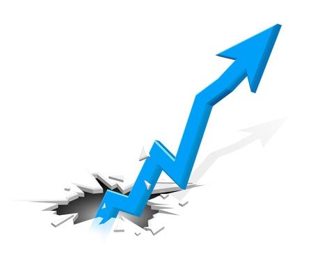 Groundbreaking growing up arrow Vettoriali